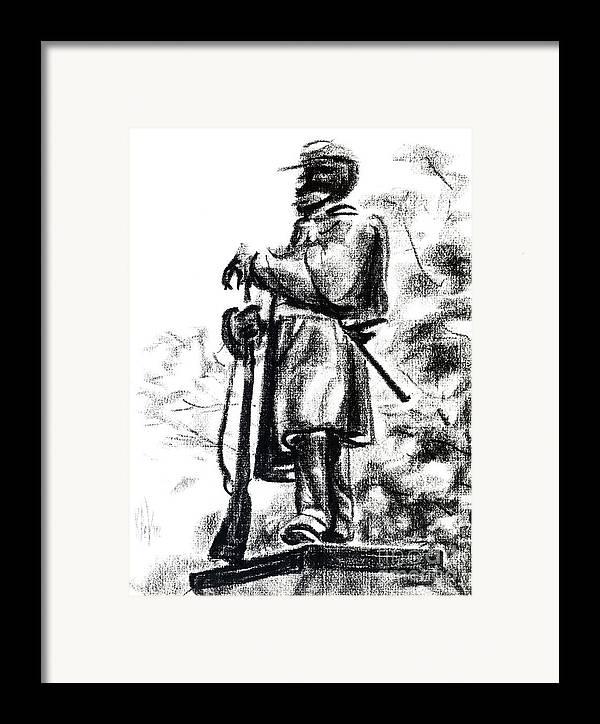 On Duty In Brigadoon No Ch101 Framed Print featuring the drawing On Duty In Brigadoon No Ch101 by Kip DeVore