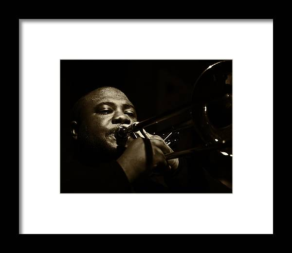 Trombone Framed Print featuring the photograph On Horn by Jim Lynch