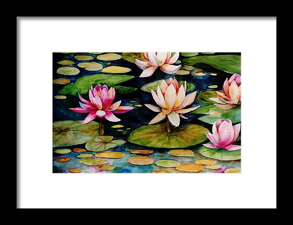 Lily Framed Print featuring the painting On Lily Pond by Jun Jamosmos
