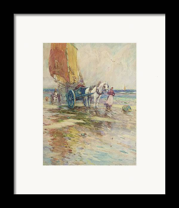 Horse And Cart Framed Print featuring the painting On The Beach by Oswald Garside