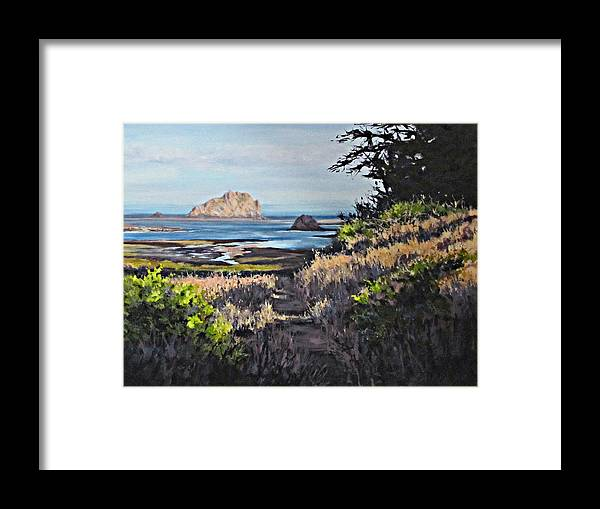 Landscape Framed Print featuring the painting On The Coast by Karen Ilari