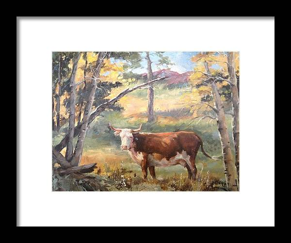 Landscape Framed Print featuring the painting On The Road To Taos by Jane Joplin