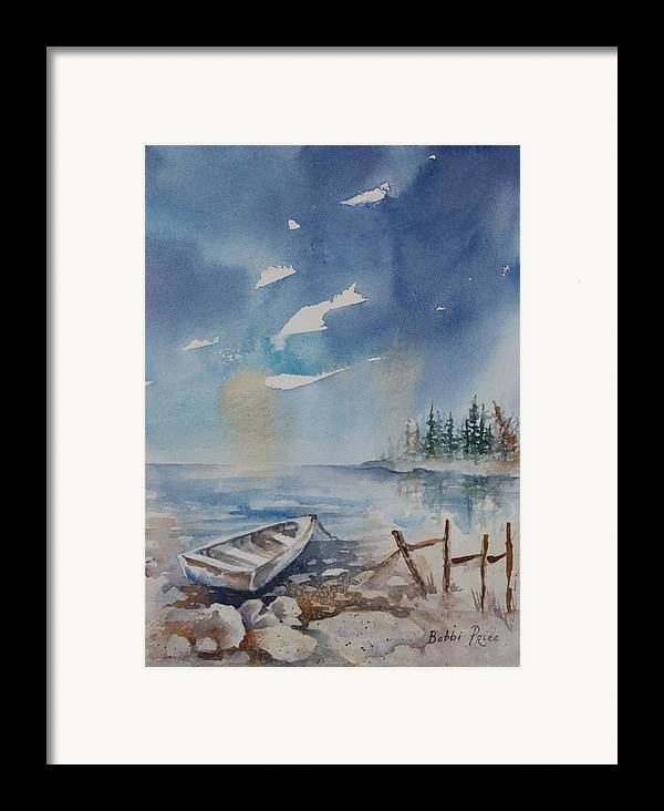 Seascape Framed Print featuring the painting On The Rocks by Bobbi Price