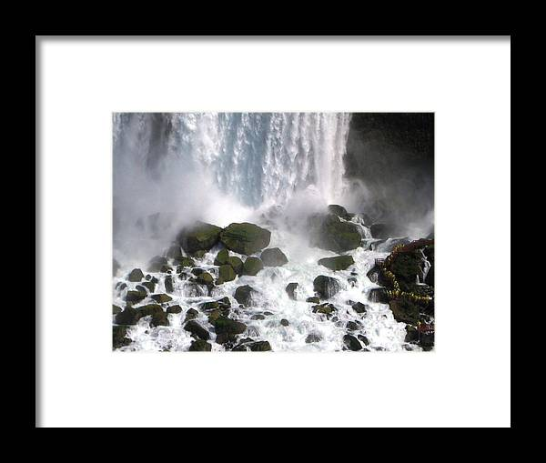 Waterfall Framed Print featuring the photograph On The Rocks by Dervent Wiltshire