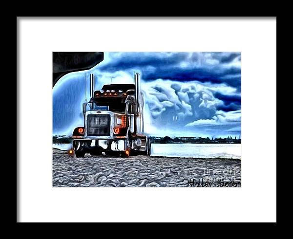 Trucking Framed Print featuring the digital art On The Rocks by Holley Jacobs
