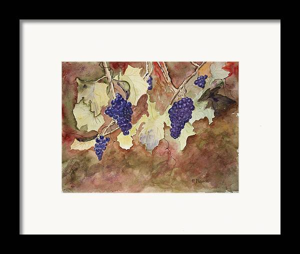Grapes Framed Print featuring the painting On The Vine by Patricia Novack