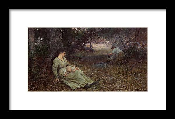 Frederick Mccubbin Framed Print featuring the painting On the wallaby track by Frederick McCubbin