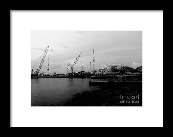 Black And White Framed Print featuring the photograph On The Waterfront by Amar Sheow