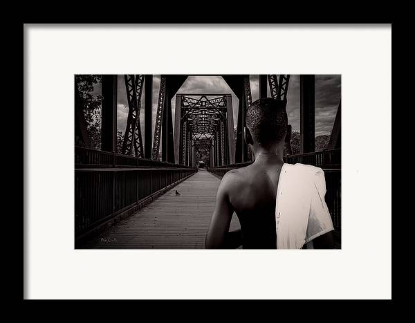 Bird Watching Framed Print featuring the photograph One Boy One Pigeon One Bridge by Bob Orsillo