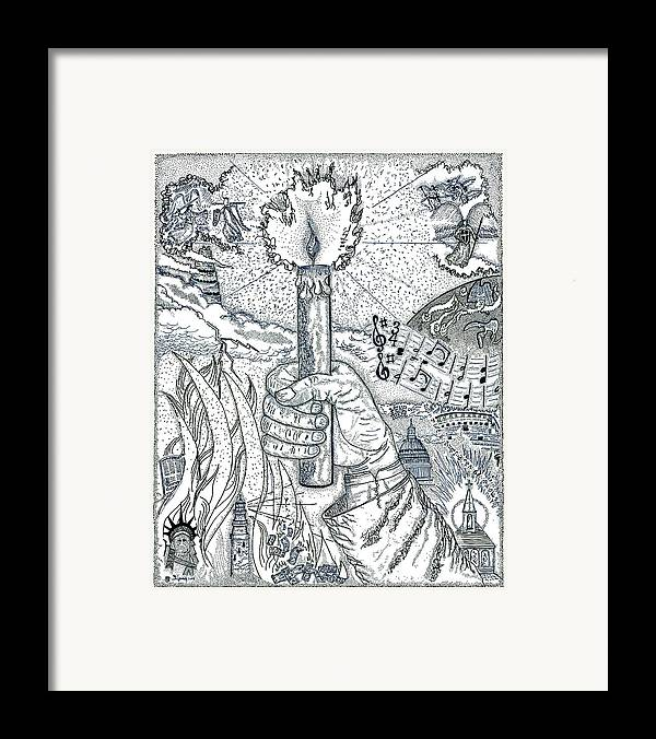 Christian Framed Print featuring the drawing One Candle by Glenn McCarthy Art and Photography