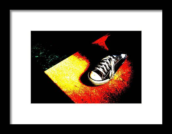 Abstract Framed Print featuring the photograph One Converse In A Ray Of Sun by Ronda Broatch