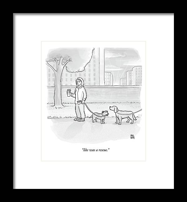 Dogs Framed Print featuring the drawing One Dog Talks To Another by Paul Noth
