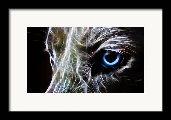 Wolf Framed Print featuring the digital art One Eye by Aged Pixel