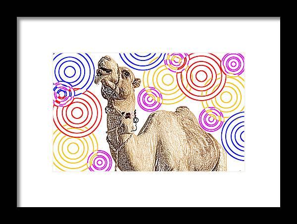 Animal Framed Print featuring the digital art One Funky Camel by Sladjana Lazarevic