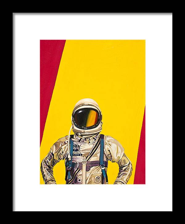 Astronaut Framed Print featuring the painting One Golden Arch by Scott Listfield