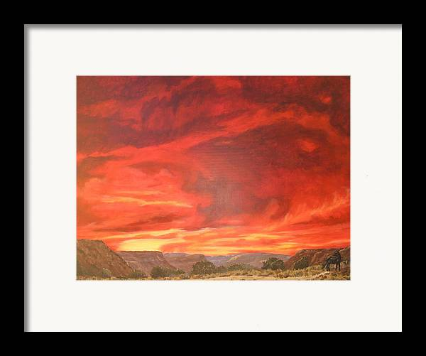 Western Framed Print featuring the painting One Last Look by Janis Mock-Jones