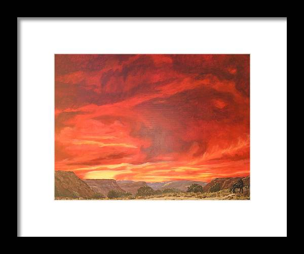 Western Framed Print featuring the painting One Last Look by Janis Mock-Jones