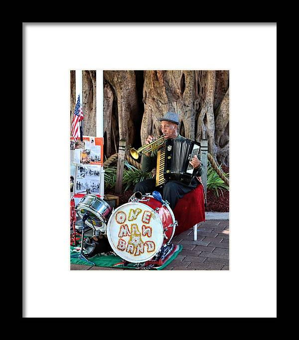 Street Musician Framed Print featuring the photograph One Man Band - Miami Florida by Alex Vishnevsky