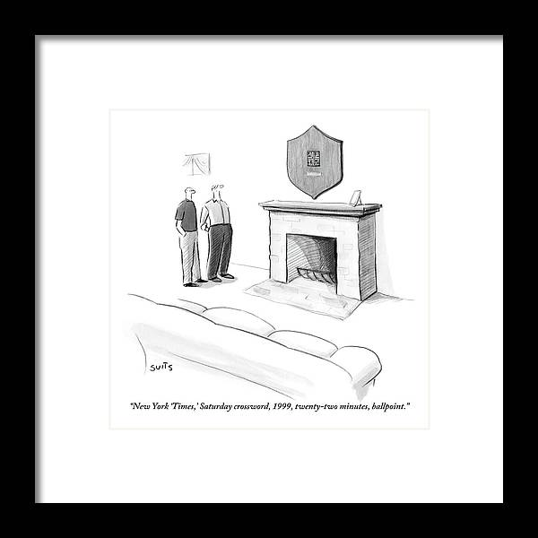 New York Times Framed Print featuring the drawing One Man Shows Off A Framed Crossword by Julia Suits