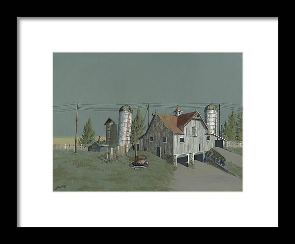 Silo Framed Print featuring the painting One Man's Castle by John Wyckoff
