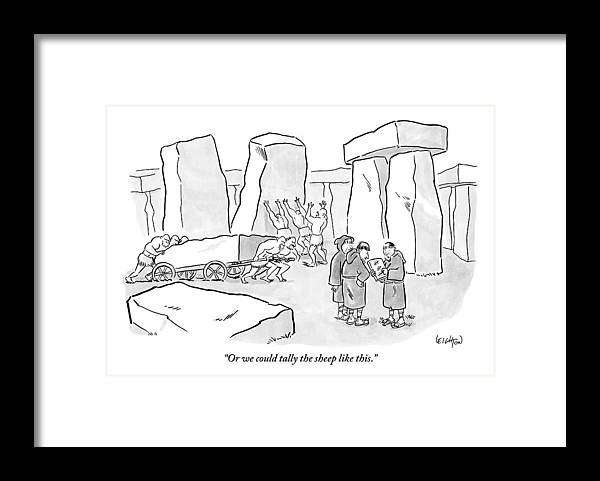 one mans shows a stone tablet with tally marks framed print by