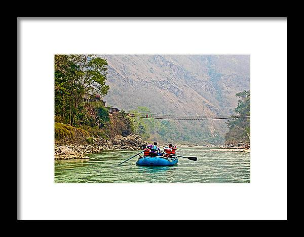 One Of Many Suspension Bridges Crossing The Seti River In Nepal Framed Print featuring the photograph One Of Many Suspension Bridges Crossing The Seti River In Nepal by Ruth Hager