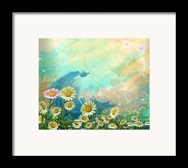 Daisy Framed Print featuring the digital art One Pink Daisy by Peter Awax