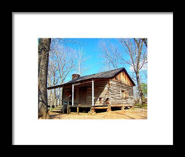 One Room Pioneer Log Cabin Framed Print featuring the photograph One Room Pioneer Log Cabin by Kathy White