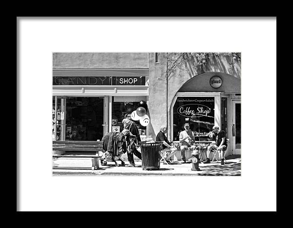 Homeless Man Framed Print featuring the photograph One Sunday On Main Street - Homeless Man - Black And White by Geoffrey Coelho