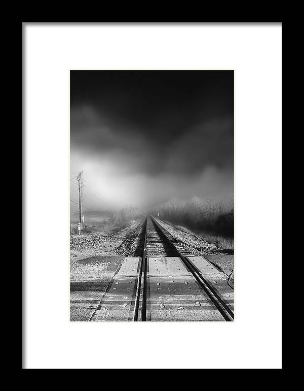 Railroad Tracks Framed Print featuring the photograph Onward - Railroad Tracks - Fog by Jason Politte