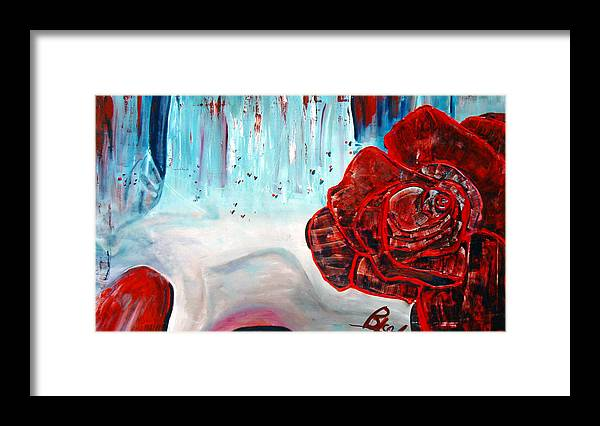 Landscape Framed Print featuring the painting OP and rose by Peggy Blood