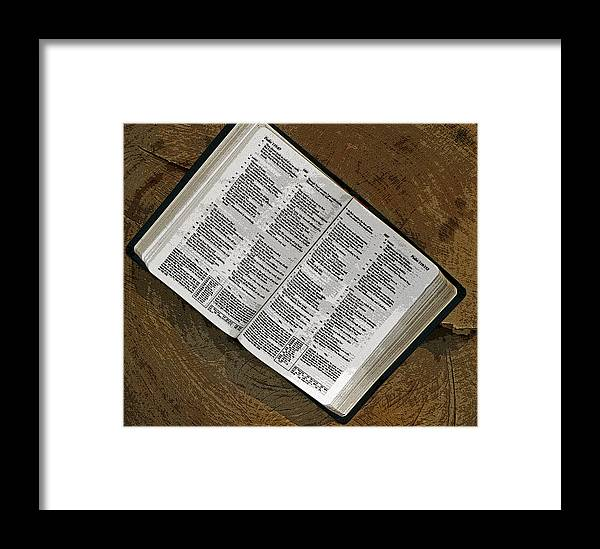 Bible Framed Print featuring the photograph Open Bible by Lonnie Paulson