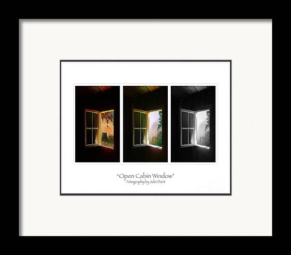 Log Cabin Art Framed Print featuring the photograph Open Cabin Window Trio by Julie Dant