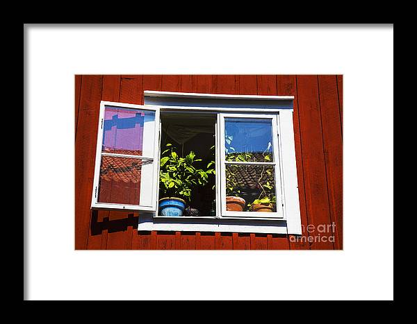 Sweden Wadkoping Swedish Exteriors Framed Print featuring the photograph Open Window by Rick Bragan