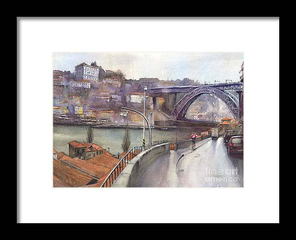 Cityscape Framed Print featuring the painting Oporto Portugal by Carlos Marques