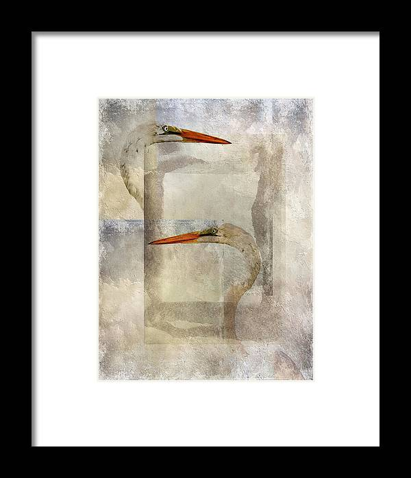 Egrets Framed Print featuring the photograph Opposed by Stephen Warren