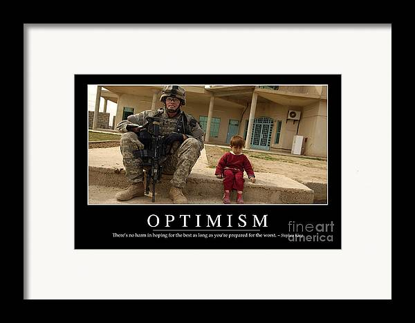 Horizontal Framed Print featuring the photograph Optimism Inspirational Quote by Stocktrek Images