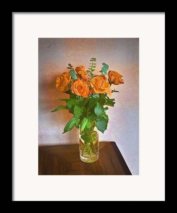 Roses Framed Print featuring the photograph Orange And Green by John Hansen