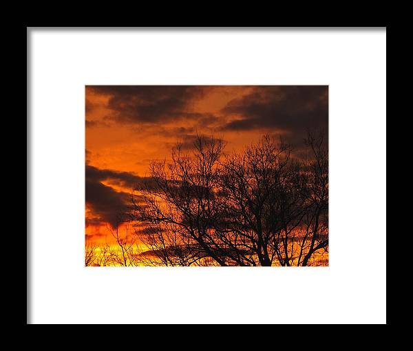 New England Framed Print featuring the photograph Orange And Yellow Sunset by Gene Cyr