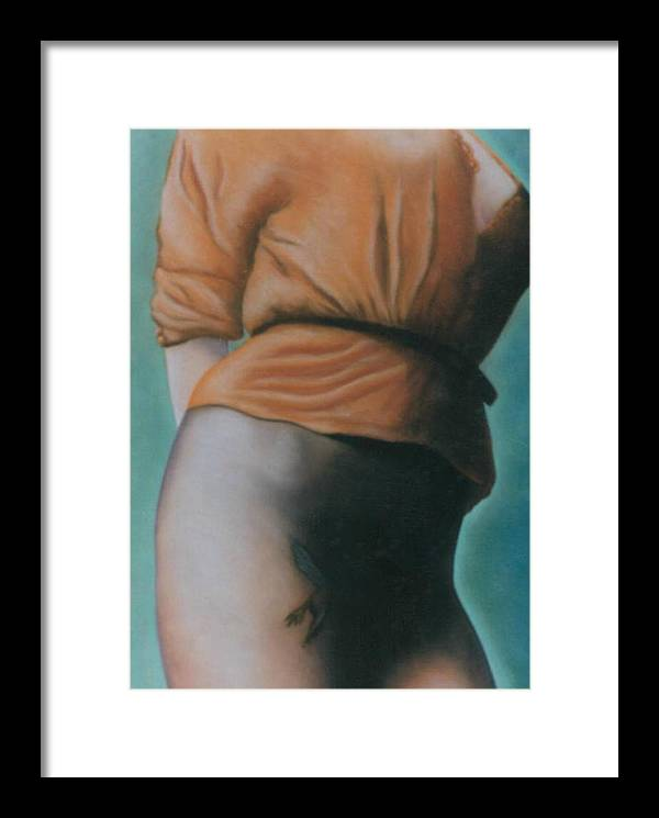 Sensual Framed Print featuring the pastel Orange Blouse by Mary Ann Leitch