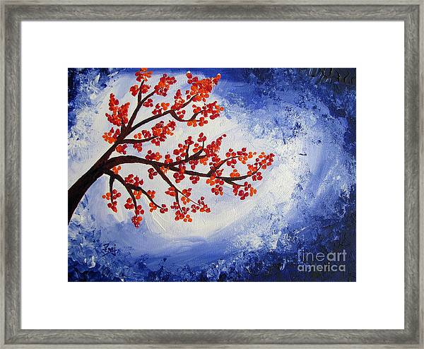 Simple Red Framed Print featuring the painting Orange Flowers With Blue Sky Acrylic Painting by Prajakta P Simple - Beautiful orange flower painting Modern
