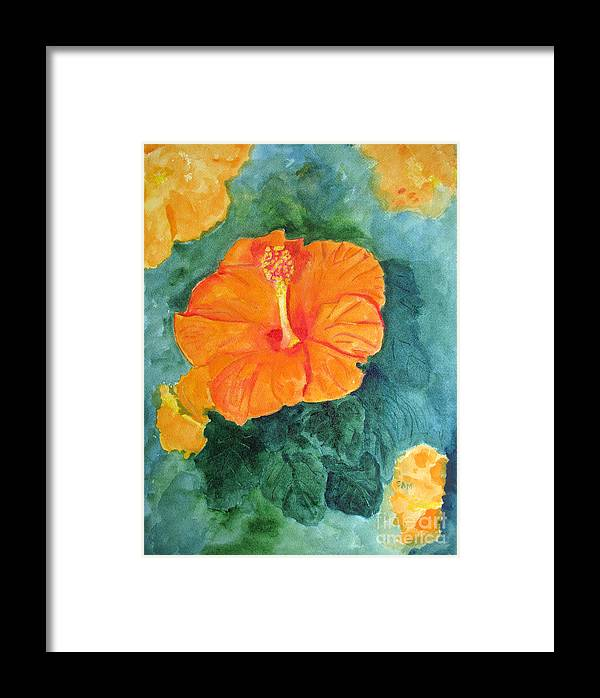 Hibiscus Framed Print featuring the painting Orange Hibiscus by Sandy McIntire