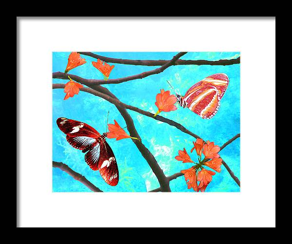 Butterflies Framed Print featuring the digital art Orange Leaves by Tina Lynch