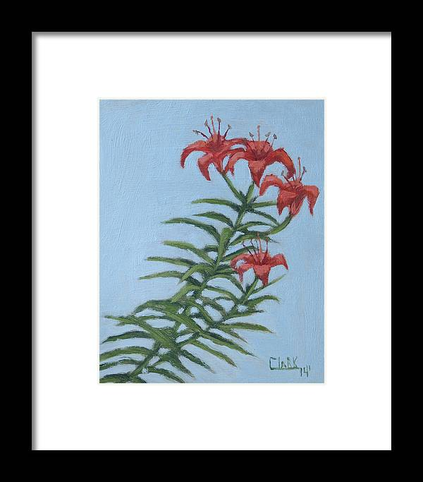 Orange Lilies Framed Print featuring the drawing Orange Lilies by Wade Clark