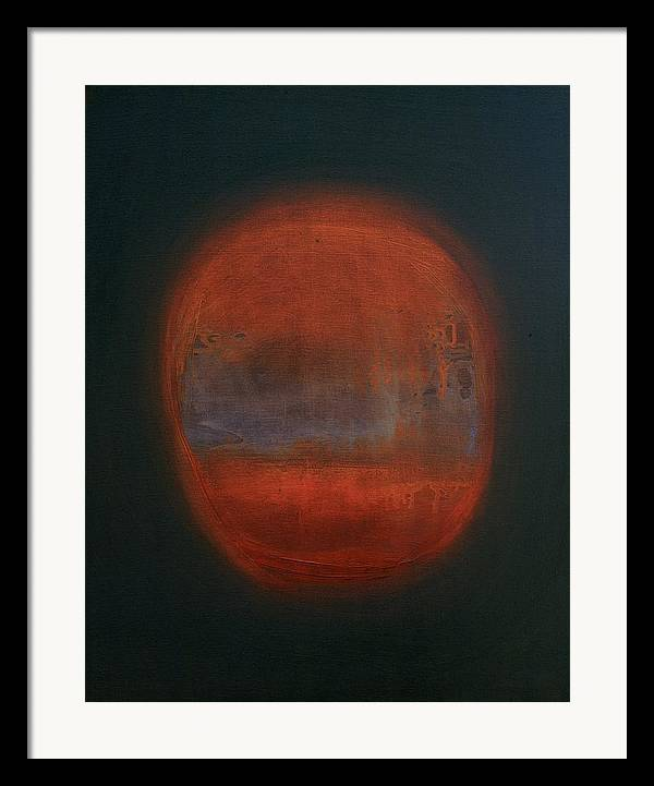 Abstract Expressionist Framed Print featuring the painting Orange Orb by Kongtrul Jigme Namgyel
