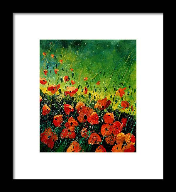Poppies Framed Print featuring the painting Orange Poppies by Pol Ledent