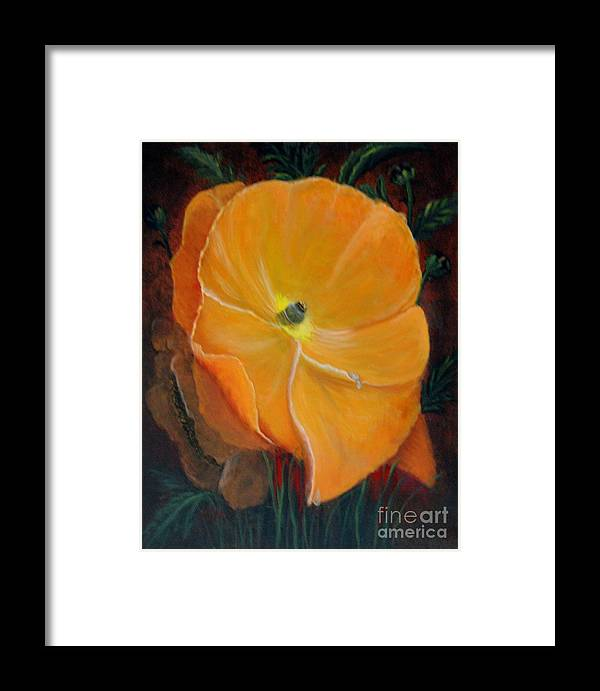 Life Style Framed Print featuring the painting Orange Poppy by Magdalena Morataya
