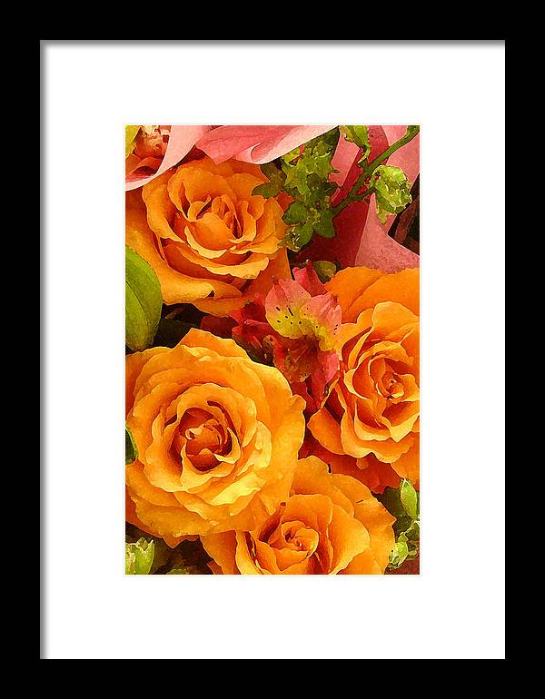 Roses Framed Print featuring the painting Orange Roses by Amy Vangsgard