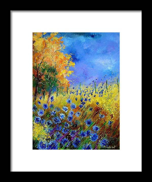 Poppies Framed Print featuring the painting Orange Tree And Blue Cornflowers by Pol Ledent