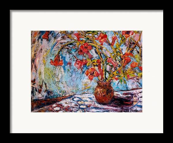 Trumpet Flowers Framed Print featuring the painting Orange Trumpet Flowers by Kendall Kessler